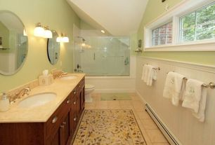 Cottage Full Bathroom with shower bath combo, drop in bathtub, Cathedral ceiling, Flat panel cabinets, tiled wall showerbath
