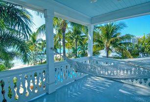Cottage Porch with Porch swing, Wrap around porch, Fence, Polyester hammock, Covered porch