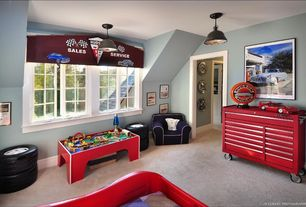 Eclectic Playroom with Pendant light, Carpet