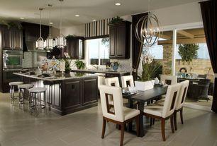 Modern Great Room with Sofia Vergara Savona 5 Pc Dining Room, Wood grain tile, Valance, Chandelier, Pendant light