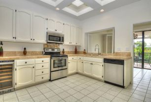 Traditional Kitchen with Flat panel cabinets, Simple Granite, L-shaped, Wine refrigerator, Undermount sink, Box ceiling