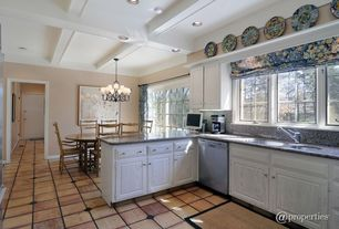 Traditional Kitchen with Breakfast nook, Paint 1, can lights, Box ceiling, MS International Granite Crema Perla, dishwasher