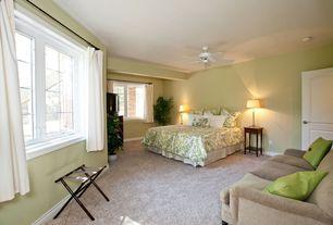 Modern Guest Bedroom with Carpet, Ceiling fan