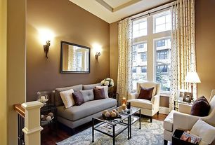 Modern Living Room with Paint, double-hung window, Hardwood floors, Standard height, Crate and barrel luxe wing chair