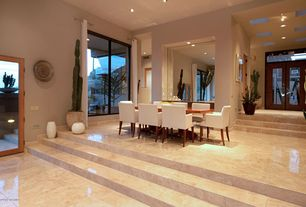 Contemporary Dining Room with French doors, can lights, High ceiling, complex marble floors, picture window