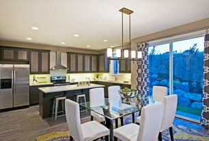 Contemporary Kitchen with Undermount sink, Glass panel, Breakfast nook, Flush, L-shaped, European Cabinets, Breakfast bar