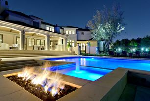 Contemporary Swimming Pool with exterior concrete tile floors, Fence, Outdoor kitchen, exterior tile floors, French doors