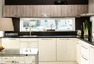 Modern Kitchen with European Cabinets, Lg hausys hi-macs-solid surface countertop in black pearl, L-shaped, Inset cabinets