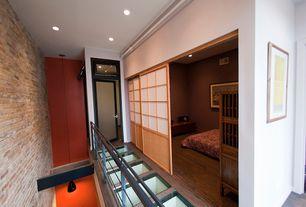 Modern Hallway with French doors, Shoji door, Tempered Glass Floor, 7 ft. Tall Zen Shoji Sliding Door Kit, Transom window