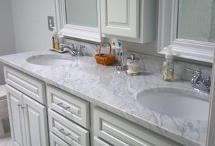 Traditional Full Bathroom with Powder room, Double sink, Complex Marble, Undermount sink, partial backsplash, Standard height