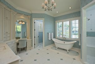 Traditional Master Bathroom with Flat panel cabinets, Standard height, Wall Tiles, Undermount sink, Raised panel, Casement
