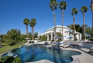 Tropical Swimming Pool with French doors, exterior stone floors, Pathway, Raised beds, specialty window, Other Pool Type