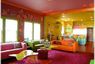 Eclectic Great Room with Built-in bookshelf, Carpet, Blik Retro Flower Vinyl Wall Decal, IKEA Klippen Loveseat, Crown molding