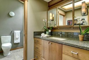 Asian Full Bathroom with Simple granite counters, European Cabinets, flush light, complex marble tile floors, High ceiling