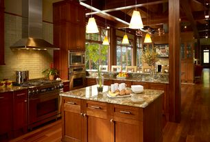 Contemporary Kitchen with Kitchen island, Undermount sink, Glass Tile, Millennium lighting pendant light, High ceiling