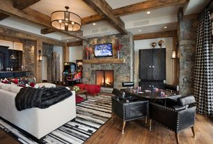 Contemporary Game Room with Cafe press black white houndstooth pattern curtains, Columns, Wall sconce, Exposed beam