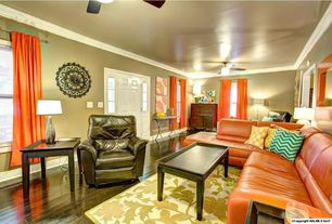 Traditional Living Room with Crown molding, Chevron pattern pillow, VIG Furniture orange leather sectional, Wool area rug