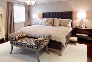 Traditional Master Bedroom with Chandelier, Standard height, Built-in bookshelf, Skyline furniture wingback bed, Paint 1