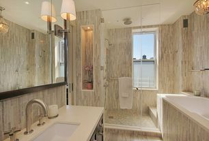 Contemporary Full Bathroom with Standard height, Limestone counters, Wall Tiles, Flat panel cabinets, Handheld showerhead