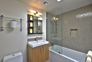 Contemporary Full Bathroom with Undermount sink, Flush, frameless showerdoor, flush light, European Cabinets, Ceramic Tile