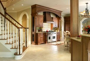 Traditional Kitchen with Tuscany beige pattern honed-unfilled-chipped travertine floor and wall tile