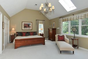 Traditional Master Bedroom with Carpet, Chandelier, Skylight