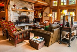 Country Living Room with Columns, Carpet, Loft, High ceiling, stone fireplace, French doors