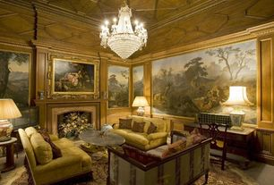Traditional Living Room with Chandelier, Cement fireplace, Standard height, Fireplace, Crown molding, Mural, Carpet
