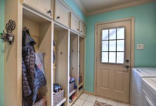 Traditional Mud Room with Standard height, stone tile floors, Glass panel door, Crown molding, Built-in bookshelf