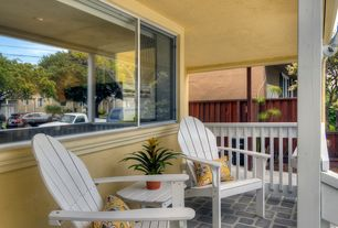Traditional Porch with Wrap around porch, Polywood - white recycled plastic casual adirondack chair, Fence