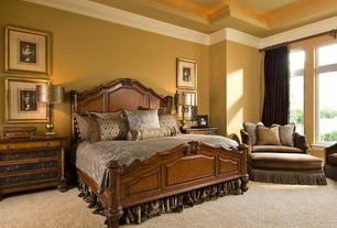 Traditional Master Bedroom with Standard height, picture window, Carpet, Crown molding