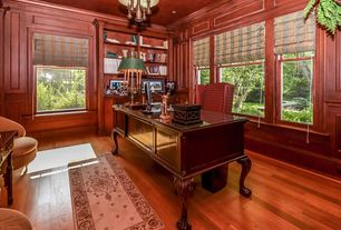 Traditional Home Office with Built-in bookshelf, Crown molding, Coaster Home Furnishings Traditional Desk, Walnut, Chandelier
