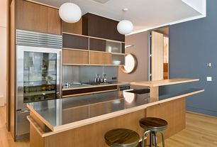 Contemporary Kitchen with Stainless steel counters, Maple - Natural 2 1/4 in. Solid Hardwood Strip, Sunset Lighting Pendant