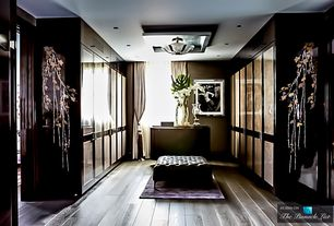 Contemporary Closet with flush light, allen + roth 15-in W Rust Frosted Glass Semi-Flush Mount Light, Hardwood floors