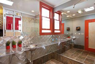 Modern Full Bathroom with Glass Tile, Rain shower, French doors, flush light, Glass counters, frameless showerdoor