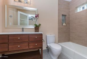 Contemporary Full Bathroom with European Cabinets, limestone tile floors, Inset cabinets, Undermount sink, Corian counters