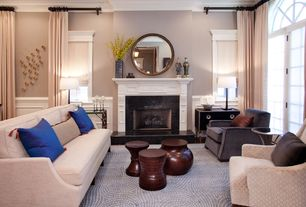 Contemporary Living Room with Casement, Crown molding, Wainscotting, stone fireplace, Fireplace, French doors, Carpet
