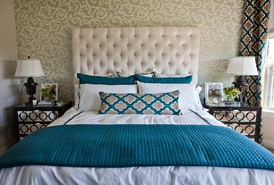 Contemporary Master Bedroom with Pottery barn lorraine upholstered tufted headboard in twill cream, interior wallpaper