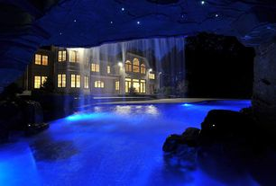 Rustic Swimming Pool with Underwater lights, Waterfall pool feature
