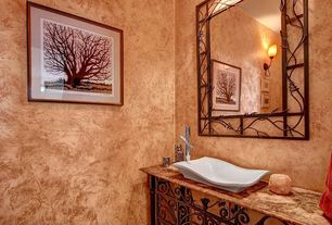 Contemporary Powder Room with Wall sconce, Standard height, Powder room, Inset cabinets, Vessel sink, Flat panel cabinets