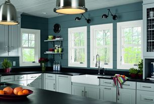 Cottage Kitchen with Flat panel cabinets, Open shelving, Flush, Granite countertop sample in absolute black, L-shaped