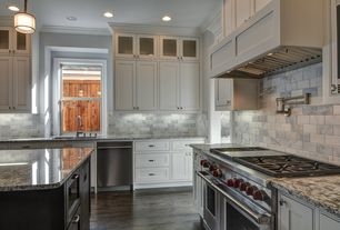 Traditional Kitchen with Crown molding, L-shaped, Ms international blanco tulum granite, Pendant light, Shaker cabinet