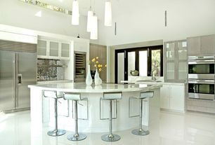 Modern Kitchen with High ceiling, L-shaped, Subzero - full height glass front wine refrigerator, French doors, Ceramic Tile