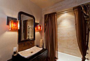 Mediterranean Full Bathroom with Wood counters, European Cabinets, Standard height, shower bath combo, Wall Tiles, Full Bath