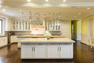 Contemporary Kitchen with Flat panel cabinets, Wainscotting, Pendant light, Dura Supreme Cabinetry Hanover Panel, Custom hood