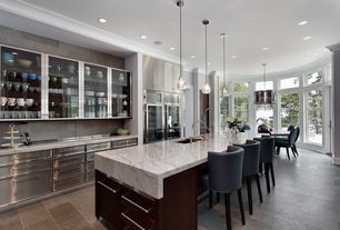 Contemporary Kitchen with Restoration hardware rhys smoke glass prism round chandelier, One-wall, Slate Tile, Transom window
