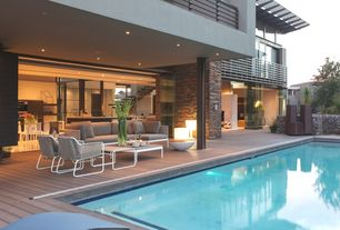 Contemporary Swimming Pool with Trellis, Pathway, Lap pool