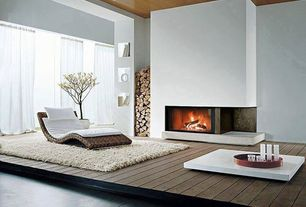 Contemporary Living Room with Tosh furniture white lacquer coffee table with drawers, Concrete floors, Fireplace, Paint 1