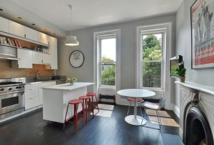 Contemporary Kitchen with Flush, Breakfast bar, Slate, Pendant light, Slate counters, Hardwood floors, European Cabinets