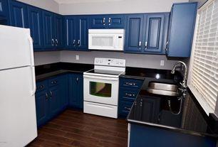 Contemporary Kitchen with Wood grain tile, Destiny: boston cabinet (raised panel), White appliances, U-shaped, Raised panel
